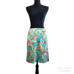 Trina Turk Pencil Skirt 4 Blue Paisley Print
